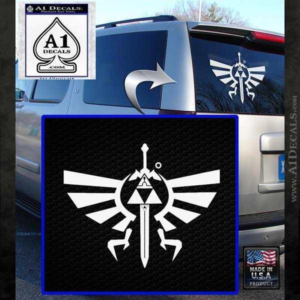 Zelda triforce master sword dm decal sticker white emblem 120x120