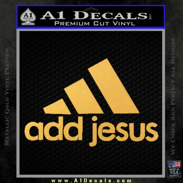 Adidas Add Jesus Decal Sticker Gold Vinyl