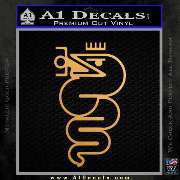 Alfa Romeo Snake Decal Sticker Metallic Gold Vinyl
