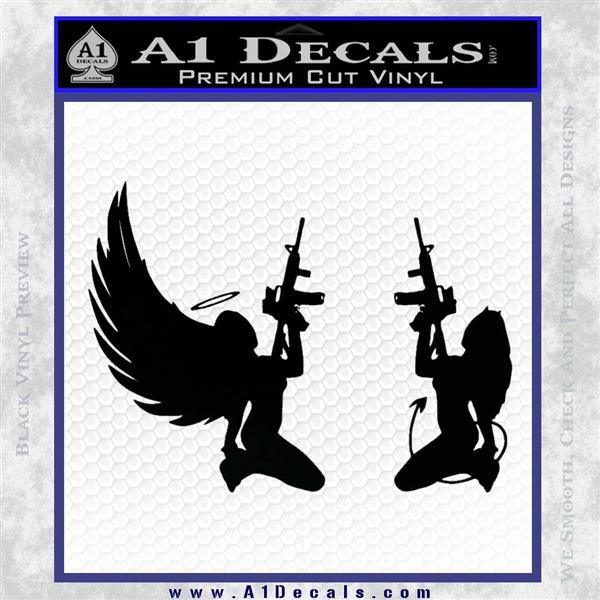 Angel Devil Girl Guns Decal Sticker D3 Black Logo Emblem