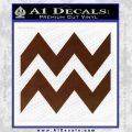 Aquarius Zig Zag Zodiac Decal Sticker BROWN Vinyl 120x120