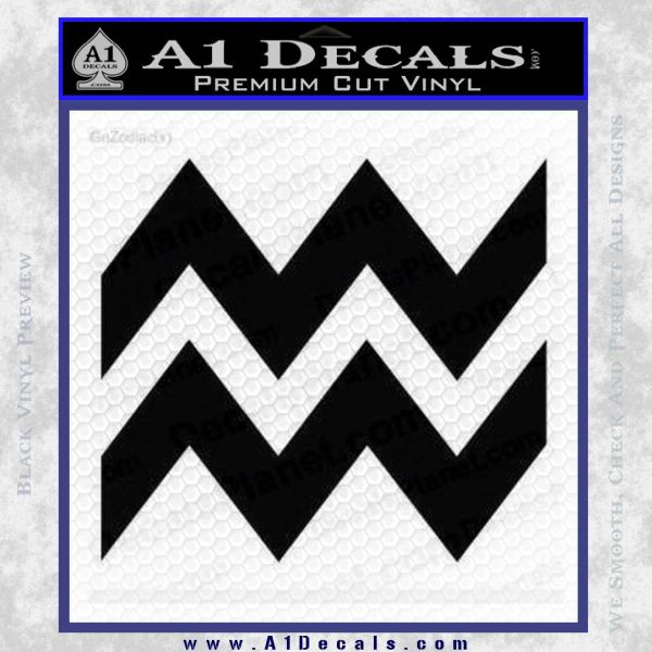 Aquarius Zig Zag Zodiac Decal Sticker Black Vinyl