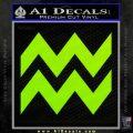 Aquarius Zig Zag Zodiac Decal Sticker Lime Green Vinyl 120x120