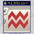Aquarius Zig Zag Zodiac Decal Sticker Red 120x120