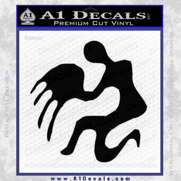 Aquarius Zodiac Decal Sticker D1 Black Vinyl