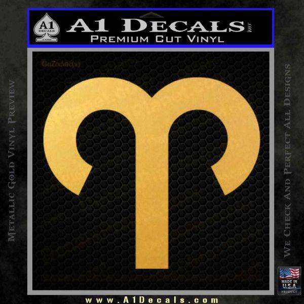 Aries Drawing Zodiac Decal Sticker Gold Vinyl