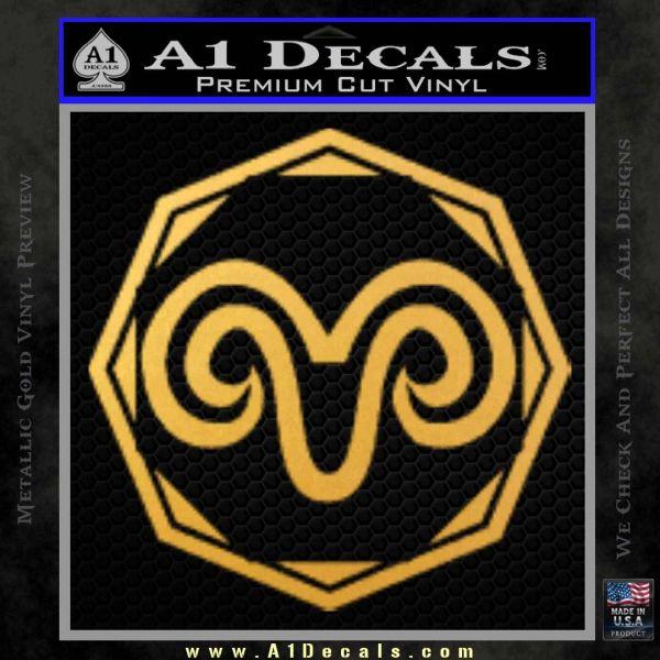 Aries Zodiac Decal Sticker OCT Gold Vinyl