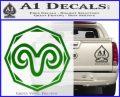 Aries Zodiac Decal Sticker OCT Green Vinyl Logo 120x97