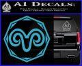 Aries Zodiac Decal Sticker OCT Light Blue Vinyl 120x97
