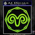 Aries Zodiac Decal Sticker OCT Lime Green Vinyl 120x120