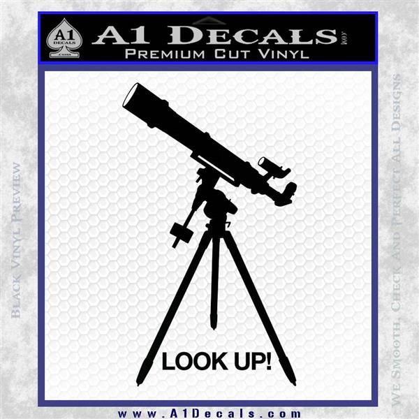 Astronomy Telescope Decal Sticker Black Logo Emblem