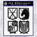 Attack on Titan Anime 4 Pack Decal Sticker Black Logo Emblem 120x120