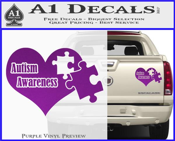 Autism Awareness Decal Sticker D9 Purple Vinyl