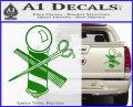 BARBER POLE SCISSORS WINDOW VINYL DECAL STICKER Green Vinyl 120x97