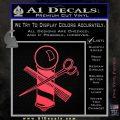 BARBER POLE SCISSORS WINDOW VINYL DECAL STICKER Pink Vinyl Emblem 120x120