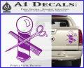 BARBER POLE SCISSORS WINDOW VINYL DECAL STICKER Purple Vinyl 120x97