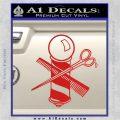 BARBER POLE SCISSORS WINDOW VINYL DECAL STICKER Red Vinyl 120x120