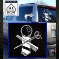 BARBER POLE SCISSORS WINDOW VINYL DECAL STICKER White Emblem 120x120