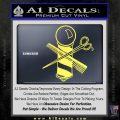 BARBER POLE SCISSORS WINDOW VINYL DECAL STICKER Yelllow Vinyl 120x120
