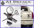 BARBER POLE SCISSORS WINDOW VINYL Decal Sticker Carbon Fiber Black 120x97