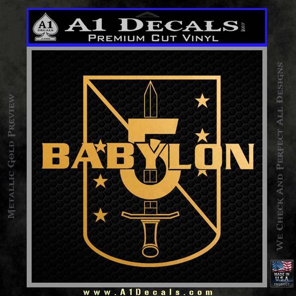 Babylon 5 Shield Title Logo Decal Siicker Metallic Gold Vinyl