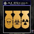 Bio Hazzard Bombs Decal Sticker Metallic Gold Vinyl 120x120