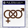 Bisexual Symbol Decal Sticker BROWN Vinyl 120x120