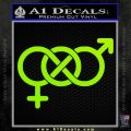 Bisexual Symbol Decal Sticker Lime Green Vinyl 120x120