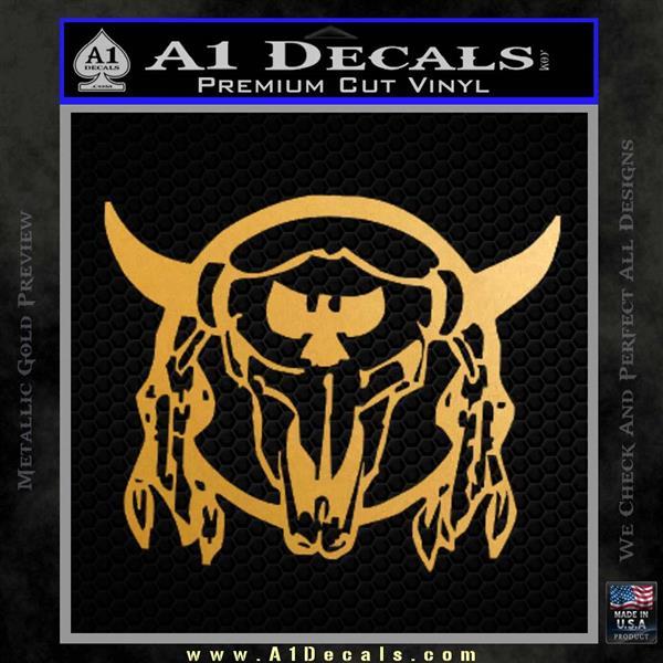 Bison Skull Native American Indian Ritual Decal Sticker Metallic Gold Vinyl