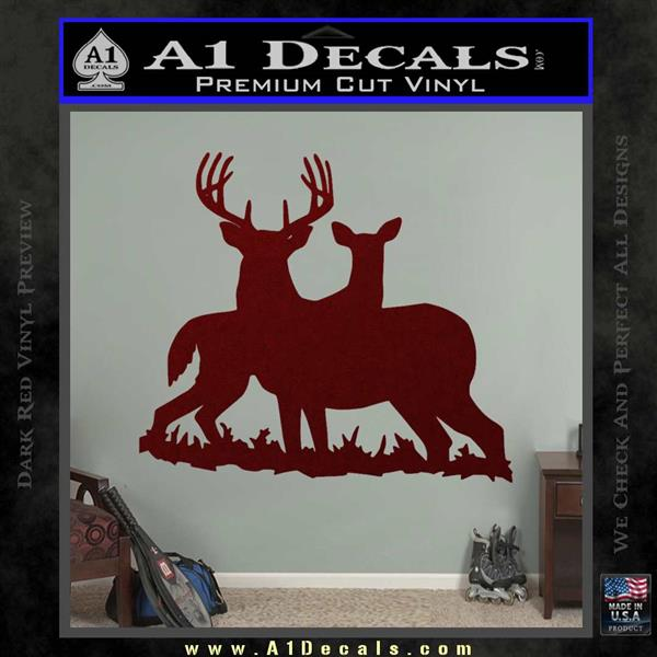 Buck and doe deer hunting decal sticker dark red vinyl 120x120