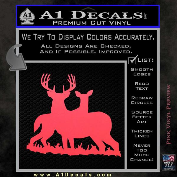 Buck and doe deer hunting decal sticker pink vinyl emblem 120x120