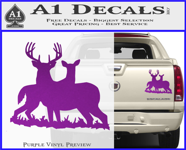 Buck and doe deer hunting decal sticker purple vinyl 120x97