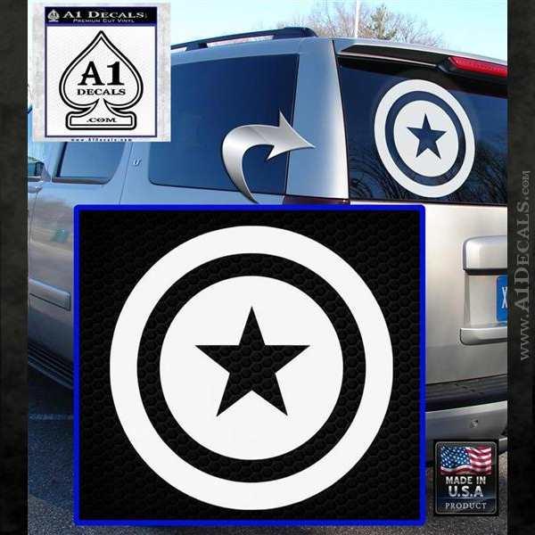 Captain USA Shield Decal Sticker White Emblem