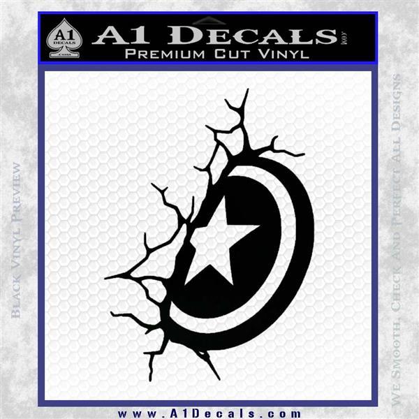Captain USA Shield Wall Decal Sticker Black Logo Emblem