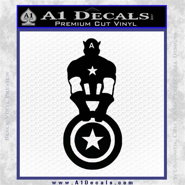 Captain USA With Shield Decal Sticker Black Logo Emblem