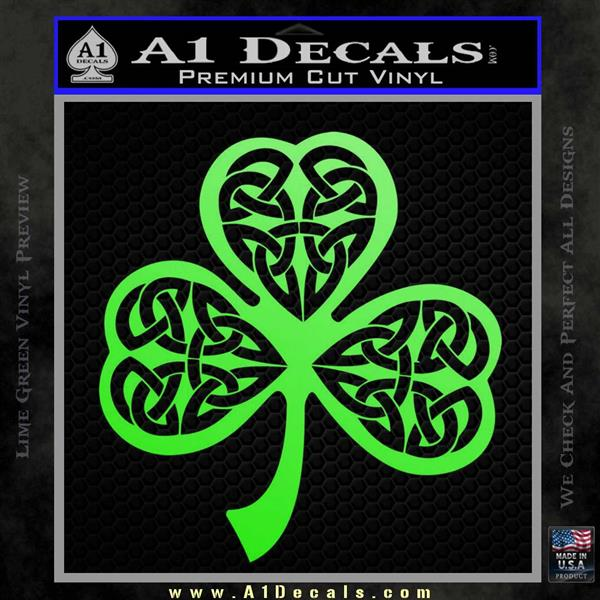 Celtic Knot Shamrock Decal Sticker DH Lime Green Vinyl