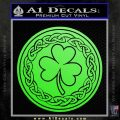 Celtic Shamrock Decal Sticker Lime Green Vinyl 120x120