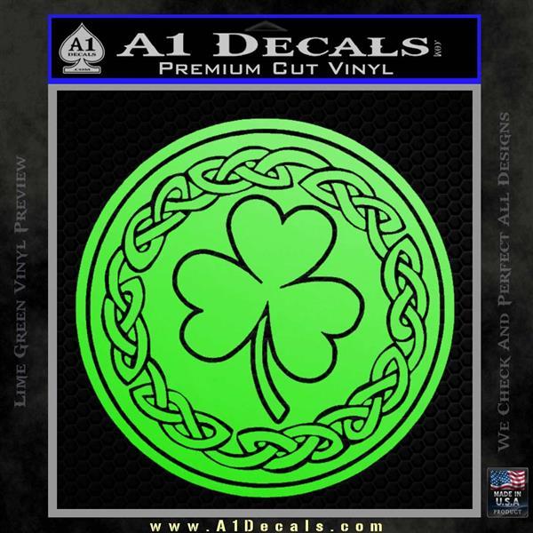 Celtic Shamrock Decal Sticker Lime Green Vinyl
