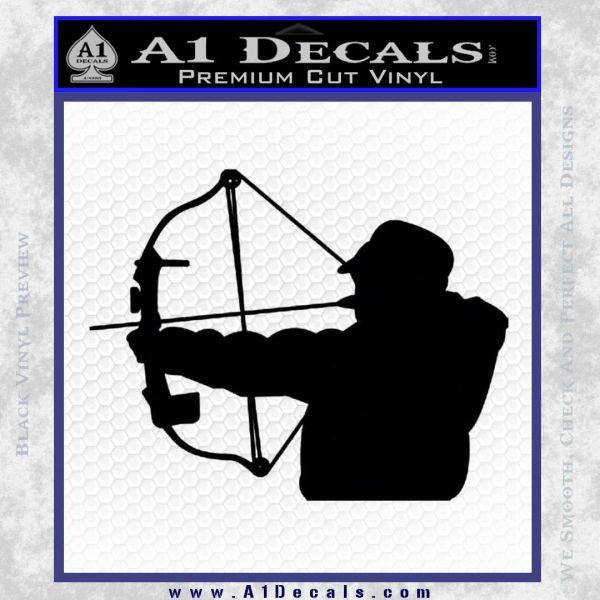 Compound Bow Hunter Decal Sticker Black Vinyl