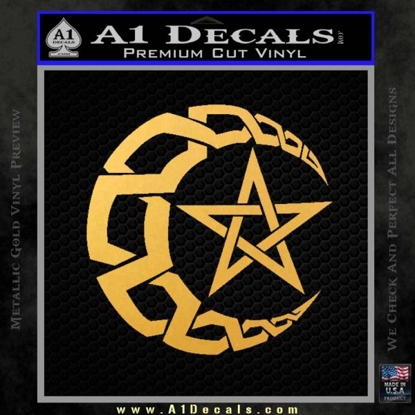 Crescent Moon And Star Decal Sticker Tribal Gold Vinyl