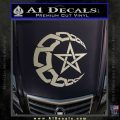 Crescent Moon And Star Decal Sticker Tribal Metallic Silver Emblem 120x120