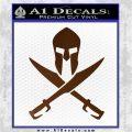 Crossed Spartan Swords Decal Sticker D2 Brown Vinyl 120x120