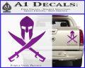 Crossed Spartan Swords Decal Sticker D2 Purple Vinyl 120x97