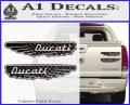 Ducati Wings Retro Decal Sticker Carbon Fiber Black 120x97
