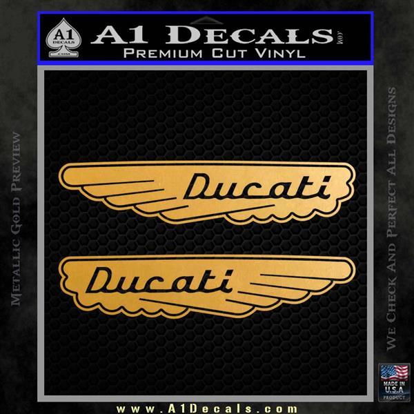 Ducati Wings Retro Decal Sticker Metallic Gold Vinyl