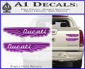 Ducati Wings Retro Decal Sticker Purple Vinyl 120x97