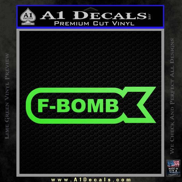 F Bomb Decal Sticker Full Lime Green Vinyl