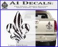 French Cross Fluer De Lis Zebra Decal Sticker Carbon Fiber Black 120x97