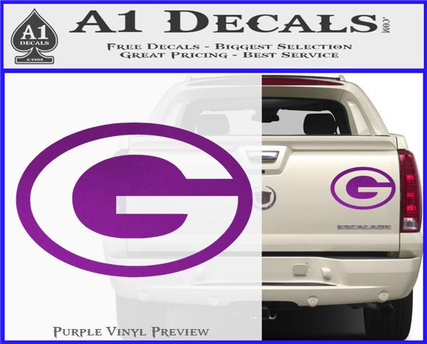 Green bay packers decal sticker ov1 purple vinyl 120x97
