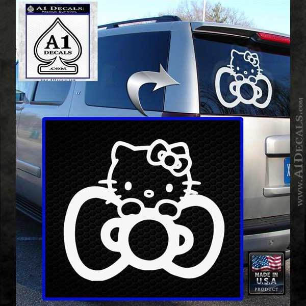 Hello Kitty Big Bow Decal Sticker White Emblem
